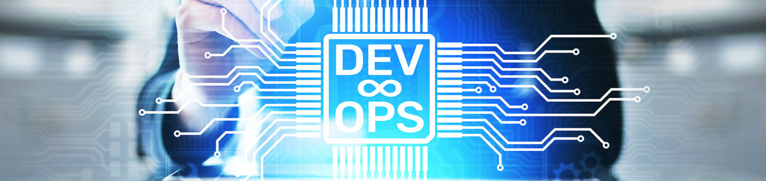 """Business with the label """"DevOps"""" on a clear board"""