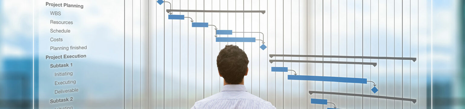 Businessman looking at large project Gantt chart